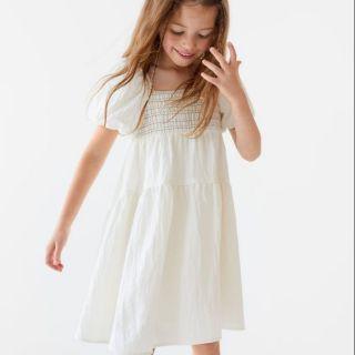 Đầm smock trắng ZARA xuất dư