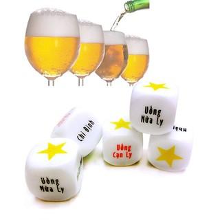 Xúc Xắc Xí Ngầu Uống Bia Với 6 Mặt Chữ In Hình 3D Vô Cùng Thú Vị