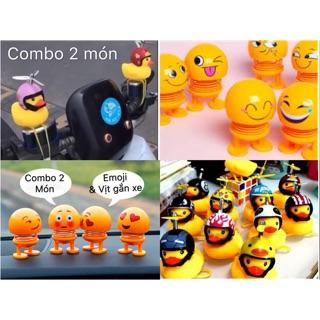 [Combo 2] Có video set 2 sản phẩm gồm 1 thú nhún emoji và 1 vịt gắn xe tặng full phụ kiện