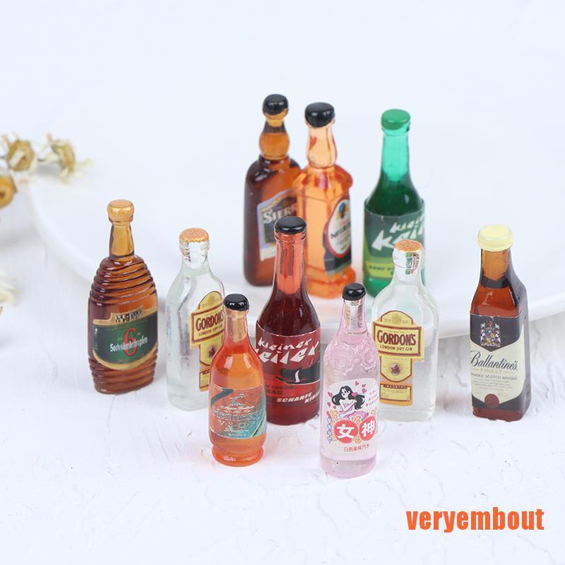 【UT】10Pcs 1:12 Dollhouse Miniature Drinks Wine Model Doll Kitchen Food Accesso