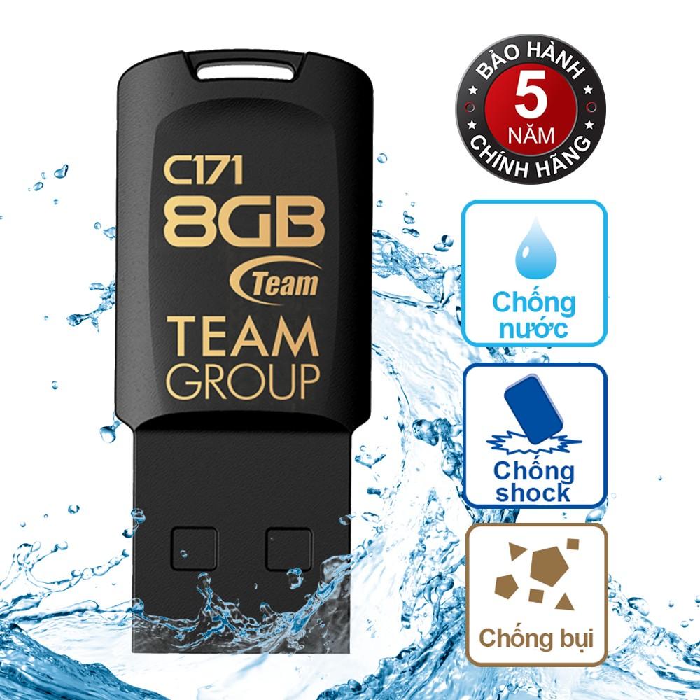 USB 8Gb chống nước C171 TEAM Taiwan (Đen) - Hãng phân phối chính thức