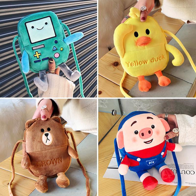 ♤❀❄Korean cartoon anime Plush doll bag children Sesame Street Mini mobile phone girl shoulder crossbody