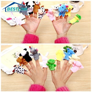 BL 6Pcs/Pack Baby Kids Family Finger Plush Toys Educational Story Cloth Puppets