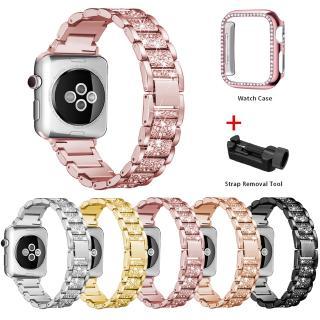 Dây Đồng Hồ Kim Loại+Vỏ Bảo Vệ Mặt Đồng Hồ Đính Kim Cương Cho Apple Watch 40mm 44mm 38mm 42mm series 6 SE 5 4 3 2 1