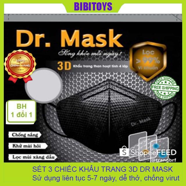 [HÀNG CÓ SẴN] Khẩu trang 3D than hoạt tính 4 lớp Dr.Mask (túi 3 chiếc)