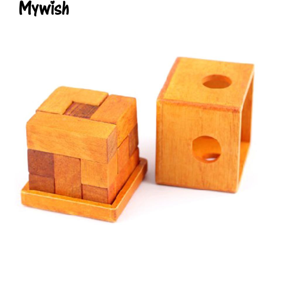 🏆Wooden Cubic Blocks Brain Teaser Lock Puzzle Game Educational New Toy