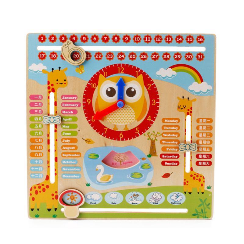 Educational Wooden Calendar Toy Clock Date Weather Chart Kids Preschool Props