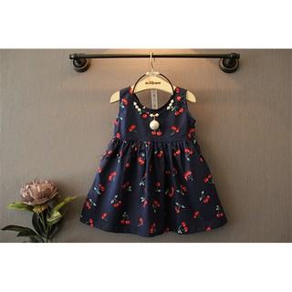 Đầm bé gái kate cherry xanh đen J1