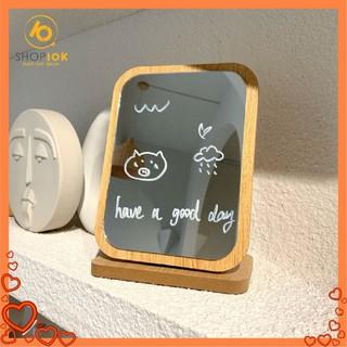 Gương Để Bàn -Gương Gỗ -Gương Trang Điểm Gấp Gọn Cao Cấp Dày, Gương Vuông Phong Cách Hàn Quốc Sang Trọng thumbnail
