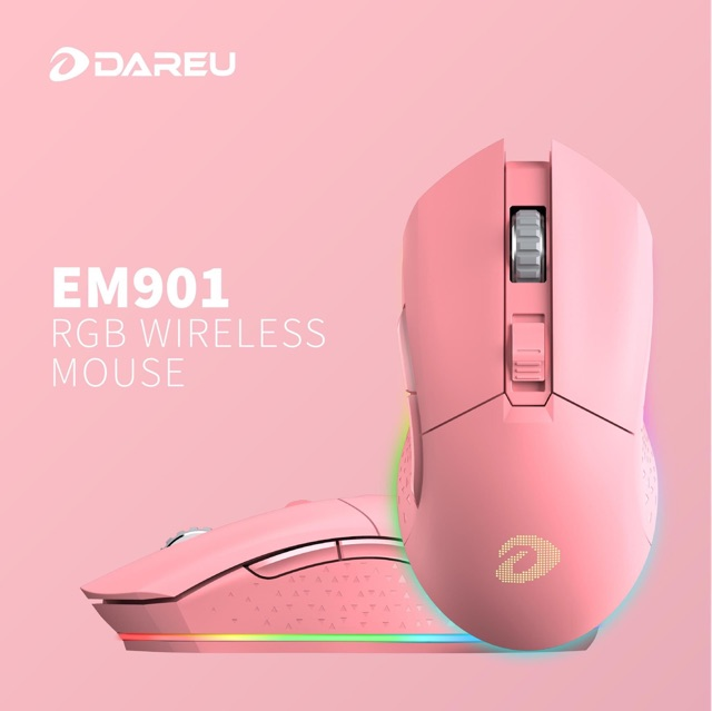 [Mã 267ELSALE hoàn 7% đơn 300K] Chuột Dareu EM901 RGB WIRELESS Pink/Black