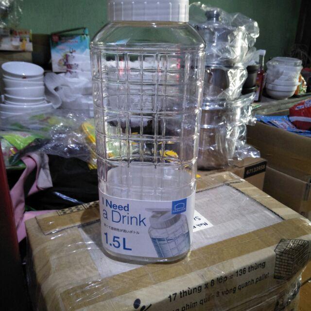 Bình  nước   Lock and  Lock  1.5L - Màu trắng. Hàng chính hãng 100%.