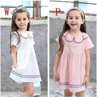 Đầm cotton cổ Peter Pan ngắn tay cho bé gái