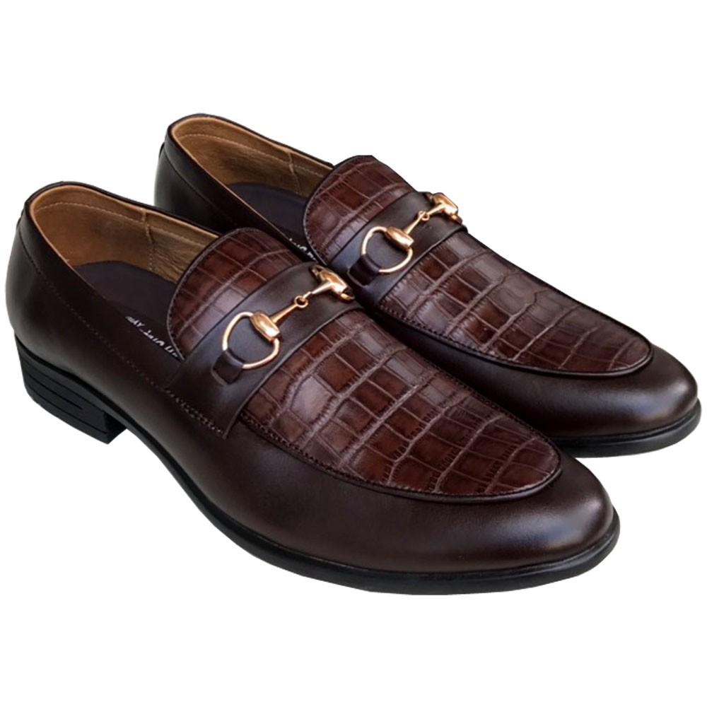 Giày tây nam da bò dập vân cá sấu cao cấp Trường Hải GT021