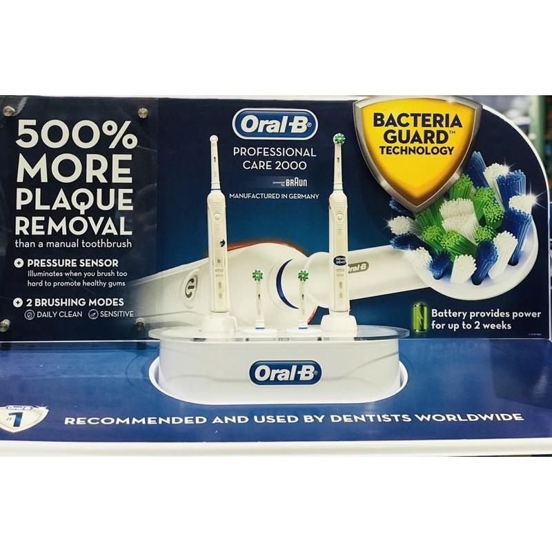 Bàn chải đánh răng sạc điện siêu năng Oral-B Pro 2000 Crossaction 2 cái