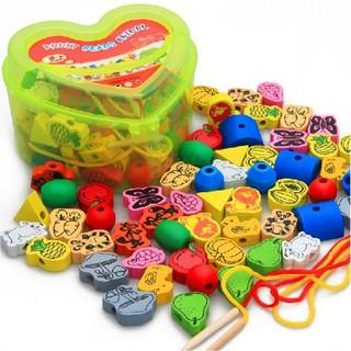 Đồ chơi Hộp sâu hạt bằng gỗ hình trái tim cho bé
