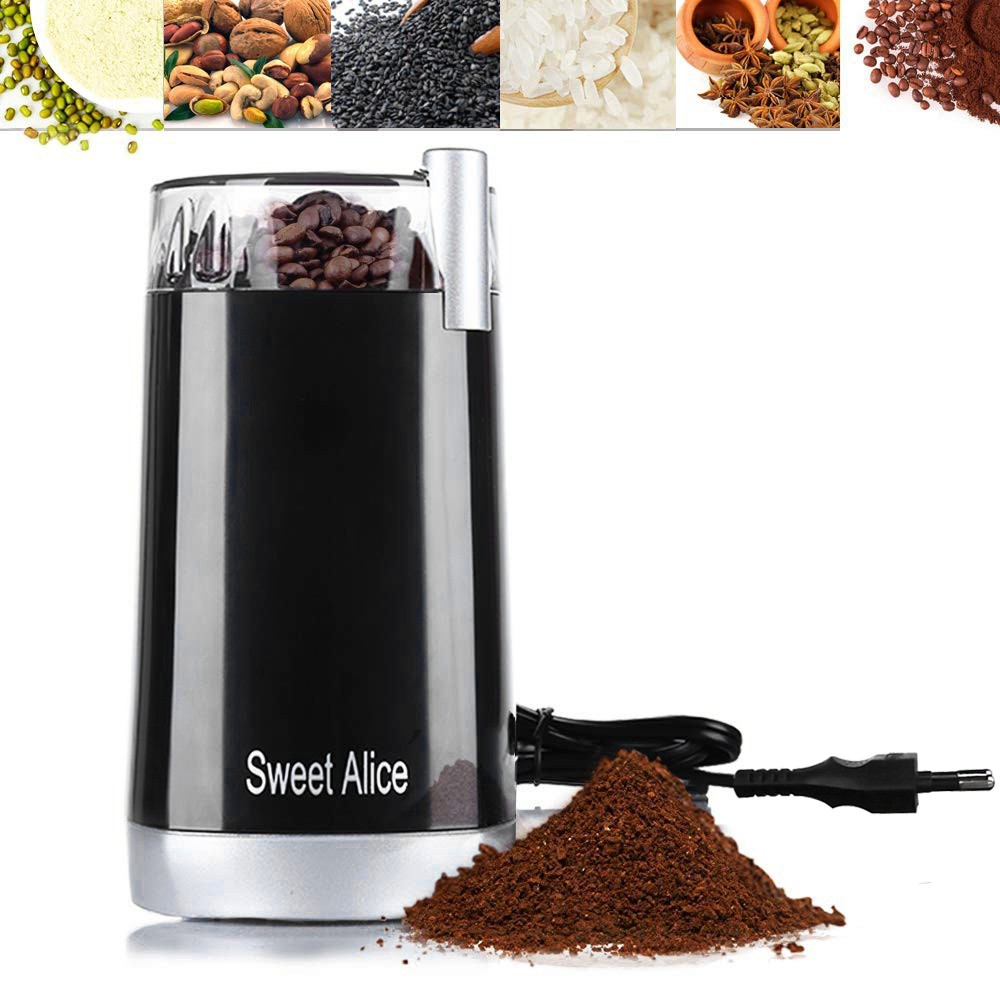 KIYOMI HOME Sweet Alice Electric Coffee Grinder Automatic Grinding Tool Small & Compact for Coffee Beans Spices Herbs Nu