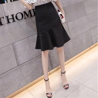 Chân váy công sở ôm dáng đuôi cá hai màu đen và trắng