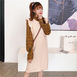 Autumn and winter western style plaid top suit women 2019 new slim mid-length knitted vest with wood