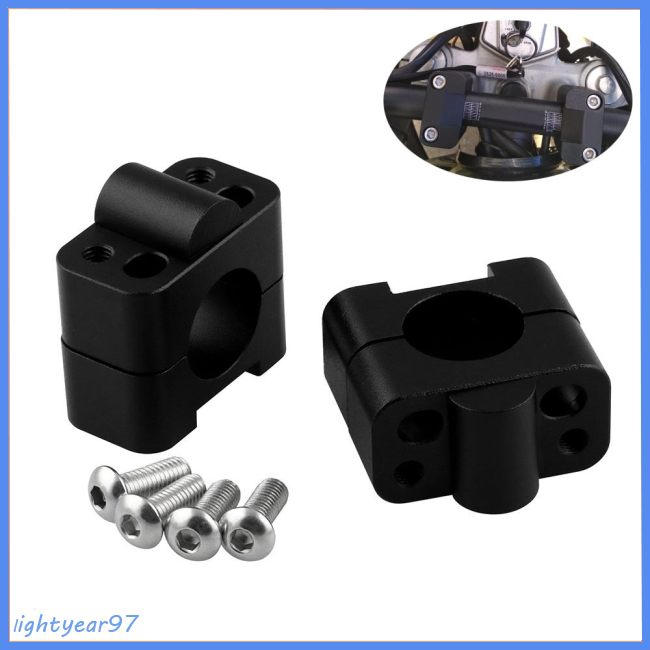 HandleBar Fat Bar Risers Mount Clamp Adapter 7/8 - 1 1/8 Universal Solid Mounts for Motorcycle