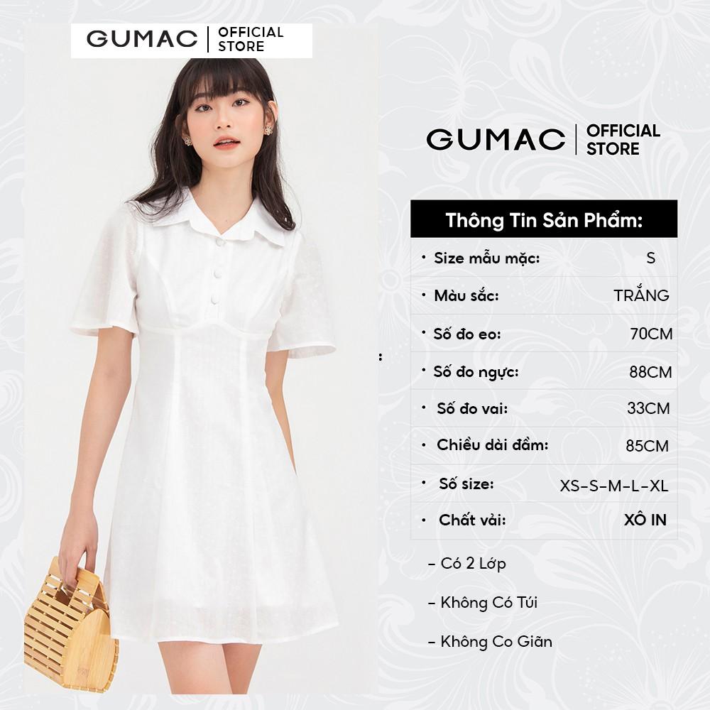 Mặc gì đẹp: Đúng gu với Đầm xòe nữ màu trắng cổ bẻ GUMAC DB725 thanh lịch trẻ trung, hai lớp