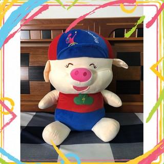 [Có VIDEO] Gấu bông heo đội nón cao 70cm nhiều màu sắc