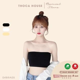Áo bra ống vân trơn thun co giãn THOCA HOUSE 3 màu đen, trắng, nude, đường chỉ may chắc chắn hàng nhập khẩu cao cấp thumbnail