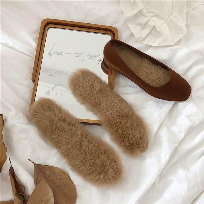 women sandalLeather rabbit hair insole situ real wool long warm shoes women's pad fur female insoles
