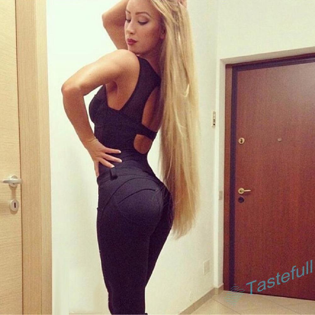 TA European Women Pencil Pants Slim Lift Hips Solid Color Elastic Sports Leggings