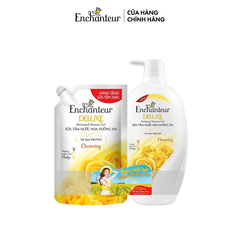 Sữa tắm Enchanteur Charming/Sensation/ Delightful/ Romantic/Magic 650gr + Túi Sữa tắm 200gr