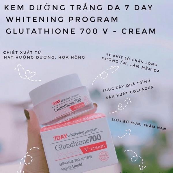 KEM DƯỠNG TRẮNG DA GLUTATHIONE 700 V CREAM 50ML 7 day 7day v7 kem mặt