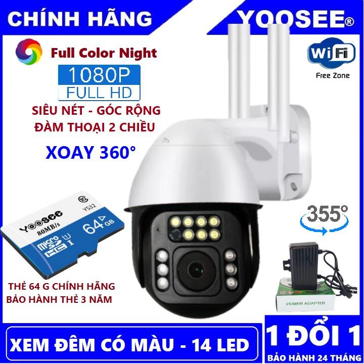 Camera Ip Yoosee Ngoài Trời Xoay 360° 14 Led FULLHD Xem Đêm Có Màu - Thẻ nhớ Yoosee Chính Hãng