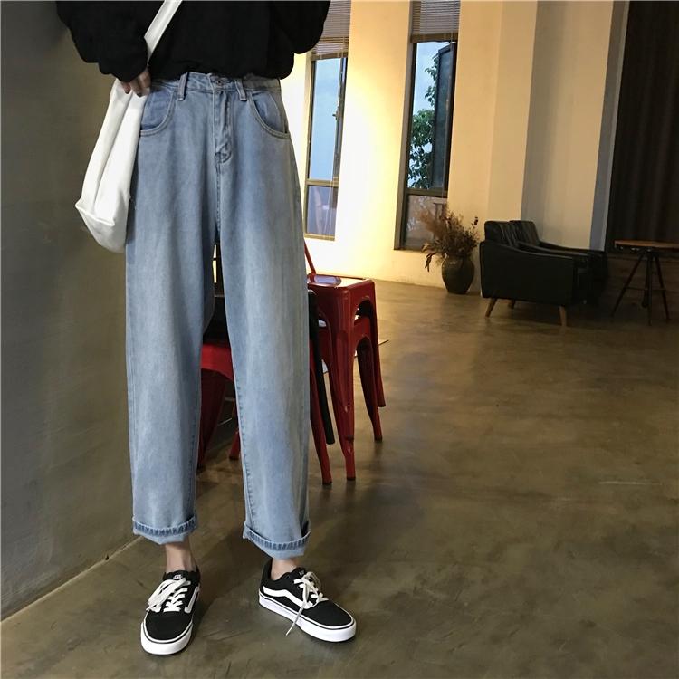 Quần jean lưng cao ống rộng phong cách Hàn Quốc dành cho nữ