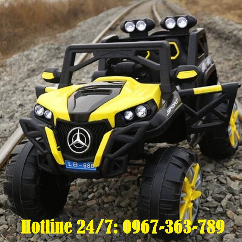 Ô tô xe điện địa hình MERCEDES LB 688 đồ chơi vận động cho bé 4 động cơ 2 ghế (Đỏ-Vàng-Trắng)