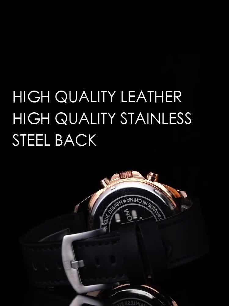 Đồng hồ nam chính hãng VAVA VOOM cao cấp mặt to cá tính, dây da mềm đeo êm tay, kiểu dáng lịch lãm ( Mã: AV01 )