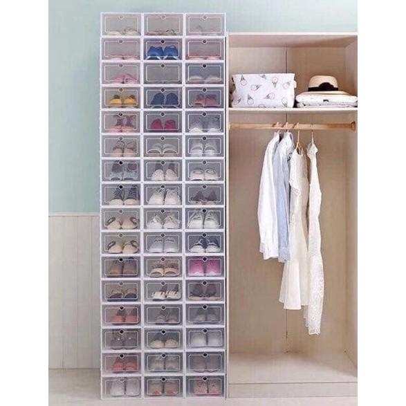 Hộp đựng giày loại 1 size to cho nam, hộp giày nhựa mica trong suốt hộp có nắp