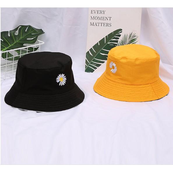PVN13543 Mũ Nón bucket vành tròn 2 mặt GENZ thêu hoa cúc phong cách Ulzzang T2
