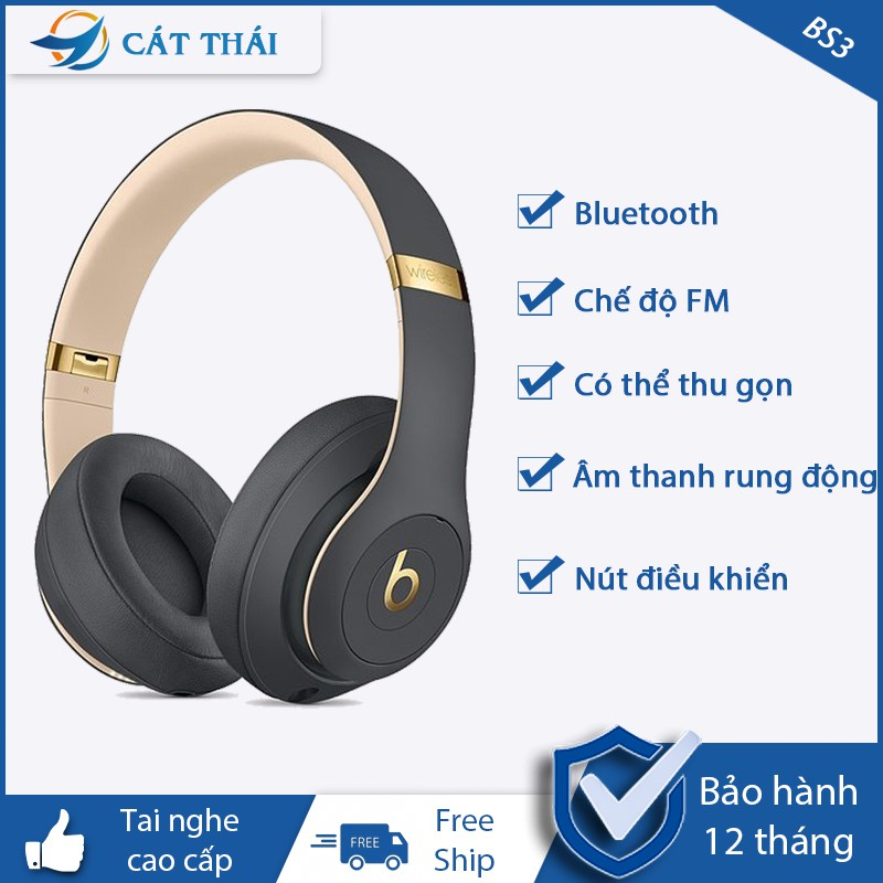 Tai Nghe Bluetooth gaming và Tai Nghe chụp tai over-ear 2 in 1 Beats Studio 3 wireless Giảm Ồn Âm Bass Cực Chất