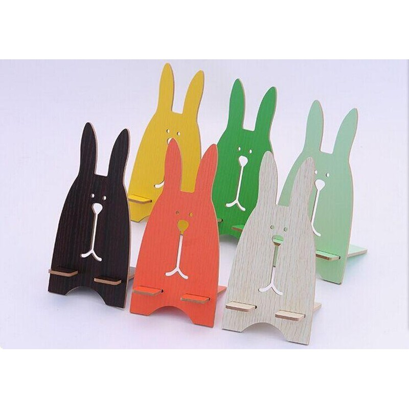 Giá Đỡ Điện Thoại Gỗ Hình Thỏ - giá đỡ hình thỏ cho điện thoại