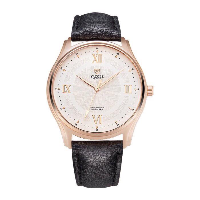 Đồng hồ nam YAZOLE 426 dây da chính hãng cao cấp Fullbox chống nước tốt AH477