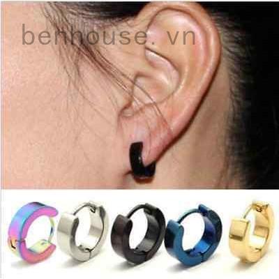 Khuyên tai tròn mạ vàng/bạc phong cách Gothic