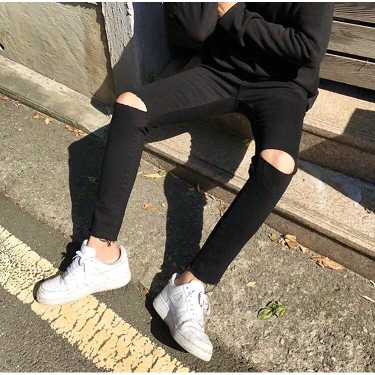 [Tiền Nào Của Đấy]Quần Jeans Nam Rách Gối Màu Đen Phong Cách Hàn Quốc Hot Trend 2020(Vải Co Giãn+Không Phai Màu)