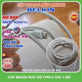 Cáp sạc Belkin TypeC bọc dù,dài 1,5m ,sạc cực nhanh và bền bỉ ( No box )
