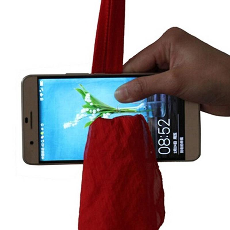 New Red Silk Thru Phone By Close-Up Street Magic Tricks Magic Prop Tools