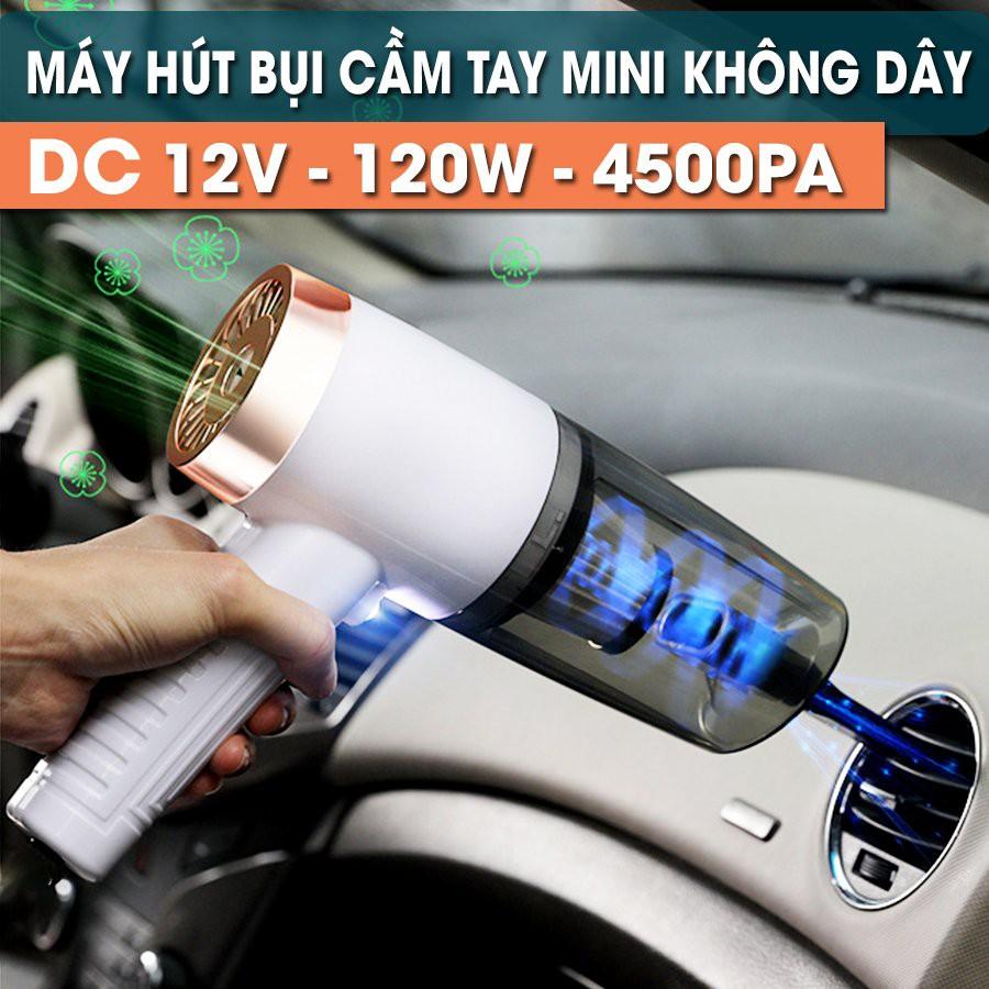Máy hút bụi xe hơi ô tô mini cầm tay ướt và khô nhỏ gọn 3DO trong oto cắm điện tẩu k không dây gia đình sạc pin USB