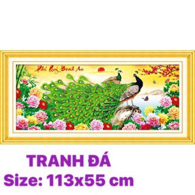 TRANH ĐÍNH ĐÁ Công xanh Phú Quý Bình An Lavender ABC LV137 - Chưa gắn [113x