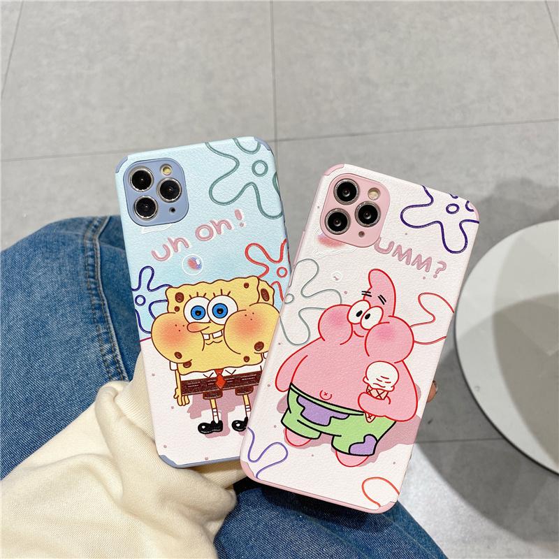 Ốp điện thoại silicone dẻo chống sốc in hình SpongeBob cho iPhone12 Pro Max i11 X XR 6s 7 8 Plus Xs Max