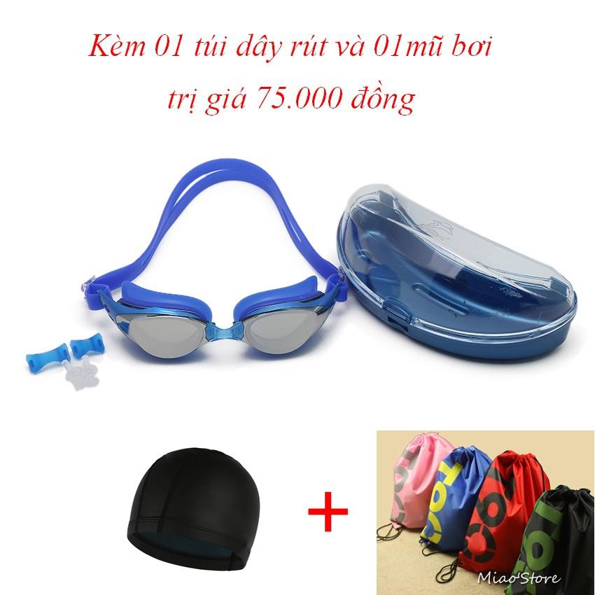 Kính bơi Shenyu tráng bạc chống tia UV kèm mũ bơi và túi đeo vai dây rút tiện lợi KB