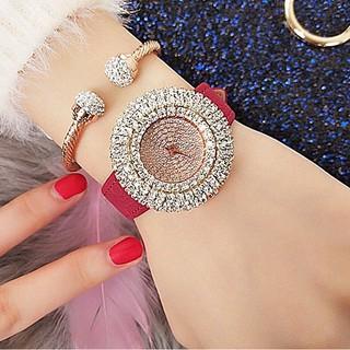 Đồng hồ nữ halie đính đá dây da đỏ thumbnail