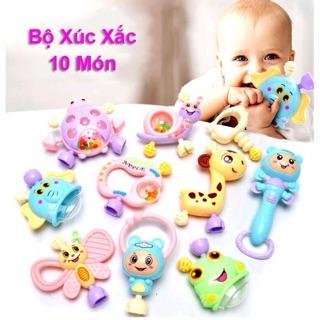 Bộ xúc xắc 10 món đồ chơi cầm nắm gặm nướu cho bé