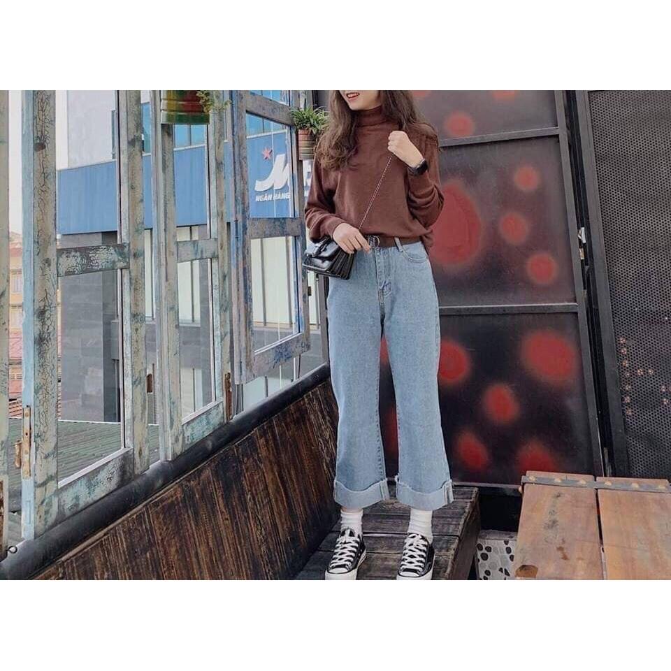 Quần ống rộng nữ jean gập gấu HOT
